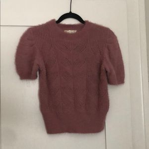 Short Sleeve Fuzzy Sweater